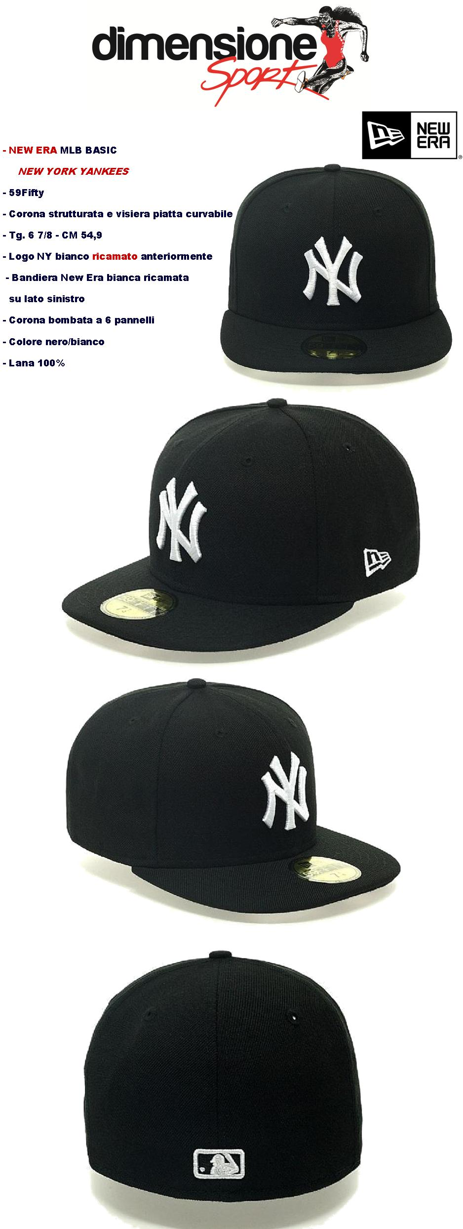 Dettagli su NEW ERA CAPPELLINO BASIC NY NEW YORK 59FIFTY 6 7 8 YANKEES nero  VISIERA PIATTA 6a86c03cbf17
