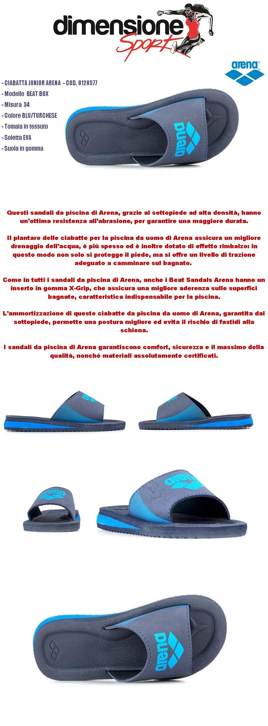 new styles 1cf78 7a6ba Dettagli su CIABATTE BAMBINO ARENA PISCINA MARE TG. 34 BLU turchese  CIABATTA JUNIOR BEAT